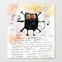 da vinci Canvas Prints featuring Kot da Vinci by Katja Main