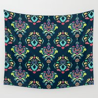 damask Wall Tapestries featuring Doodle Damask  by micklyn