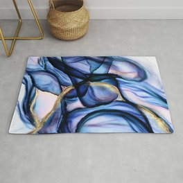 Mesmerize - Indigo, Cerulean, and Pale Pink Abstract Rug