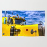 truck Area & Throw Rugs featuring Peterbilt Truck by David Pyatt