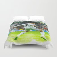 ronaldo Duvet Covers featuring Cristiano Ronaldo celebrates after scoring by Don Kuing