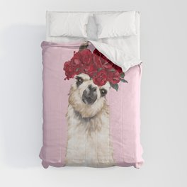 Llama with Red Roses Crown Comforters