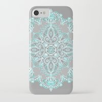 bedding iPhone & iPod Cases featuring Teal and Aqua Lace Mandala on Grey by micklyn