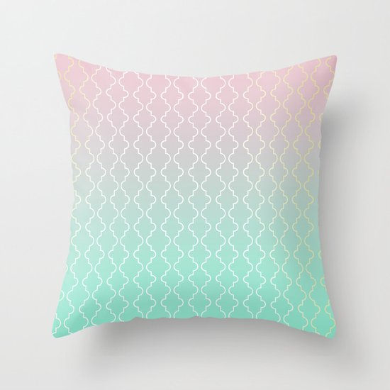 moroccan pattern with mint pink and gold throw pillow