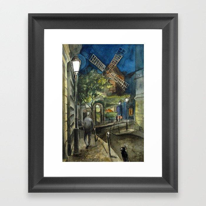 Postcards from Paris - Montmartre by Night: Le Moulin de la Galette Framed Art Print