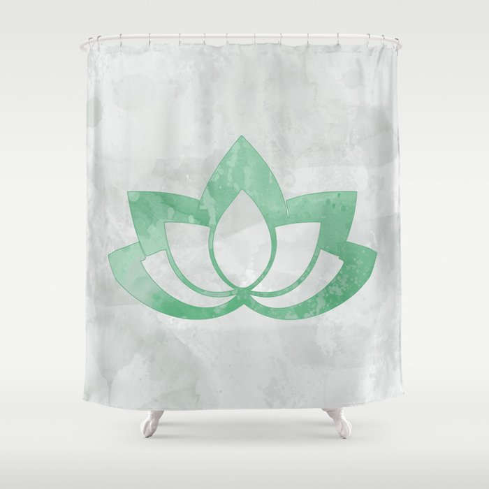 Green Lotus Flower On Gray Shower Curtain By Fischerfinearts