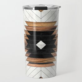 Urban Tribal Pattern No.5 - Aztec - Concrete and Wood Travel Mug
