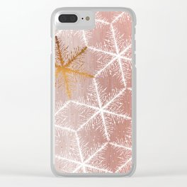 Elegant Geometric Gold Snowflakes Holiday Pattern Clear iPhone Case