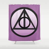 deathly hallows Shower Curtains featuring Deathly Hallows by AriesNamarie