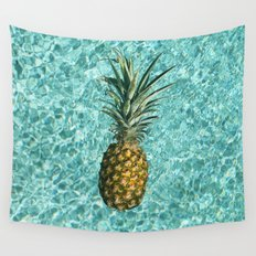 Pineapple Swimming Wall Tapestry