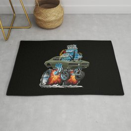 Classic American Muscle Car Hot Rod Cartoon Vector Illustration Rug