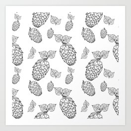 Hops pattern with leafs Art Print