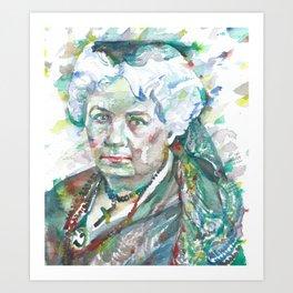 ELIZABETH CADY STANTON watercolor portrait Art Print