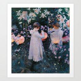 Carnation, Lily, Lily, Rose Art Print