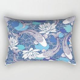 Blue Koi Ripples Rectangular Pillow