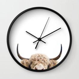 Peeking Highland Cow Wall Clock