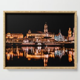 Dresden, Germany City Lights on the Saxony River Panorama Serving Tray