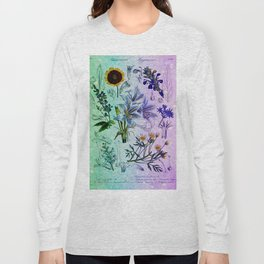 Botanical Study #2, Vintage Botanical Illustration Collage Art Long Sleeve T-shirt