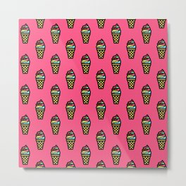 Ice Cream Cones on Hot Pink Background Metal Print