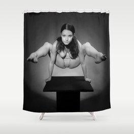 7717s-MAK BW Art Nude Flexible Woman Balancing Above Platform Shower Curtain