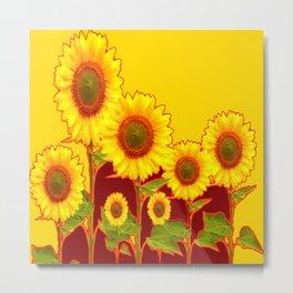 YELLOW-BURGUNDY COLOR SUNFLOWER ART Metal Print