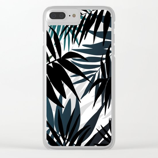 Shadow palm tree leaves Clear iPhone Case
