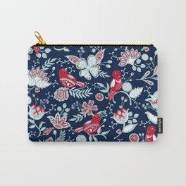 Floral Birds Garden Blue Carry-All Pouch