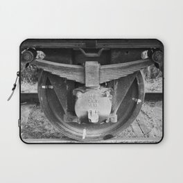 Black and white photography Old train wheel Laptop Sleeve