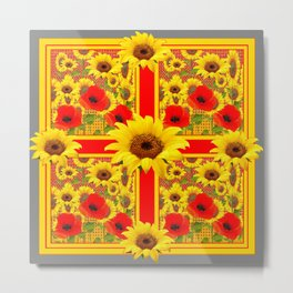 YELLOW SUNFLOWERS RED POPPIES DECO ART Metal Print