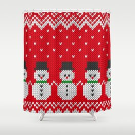 Knitted snowman pattern Shower Curtain
