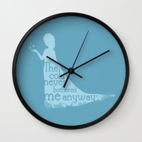 frozen elsa Wall Clocks featuring Elsa (Frozen) by Robert Woods
