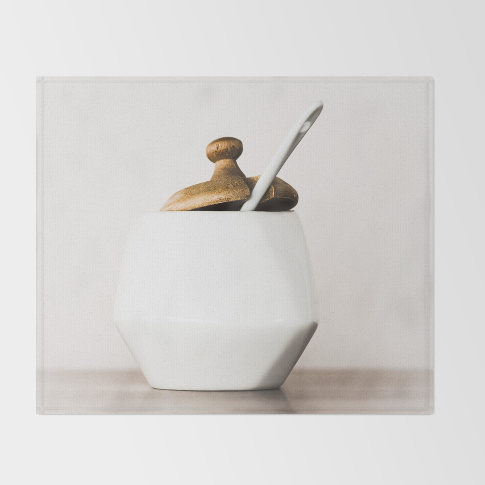 White Ceramic Sugar Cup Throw Blanket BLK7790108