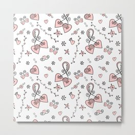 Seamless doodle valentine pattern with hearts Metal Print
