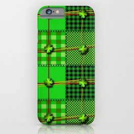 Green/Black Irish Patchwork Style St. Patrick's Day Themed Celtic Quilt Cultural Checkered Clovers iPhone Case