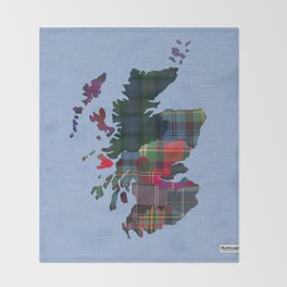 Scotland Counties Fabric Map Art Throw Blanket