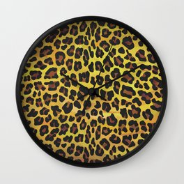 Leopard Brown and Yellow Print Wall Clock