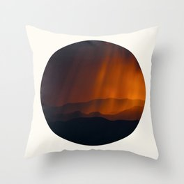 Mid Century Modern Round Circle Photo Minimal Silhouette Mountains With Sepia Umber Sky Throw Pillow