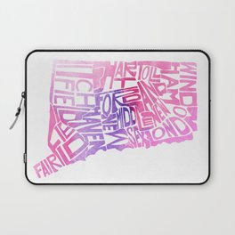 Typographic Connecticut - pink watercolor map Laptop Sleeve