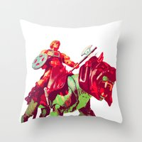 he man Throw Pillows featuring he-man by BzPortraits
