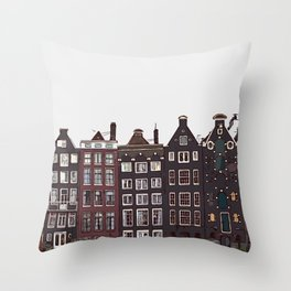 Traditional houses in Amsterdam Throw Pillow