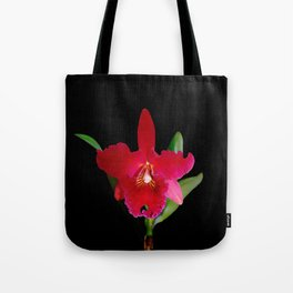 Red Cattleya orchid flower Tote Bag