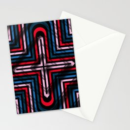 Rhombuses with cross (blue-red-black) Stationery Cards