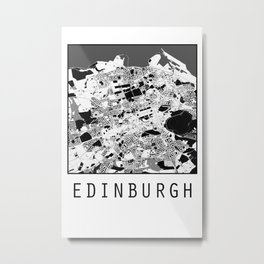 Edinburgh city map, Black on White design Metal Print