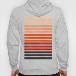 Watercolor Gouache Mid Century Modern Minimalist Colorful Burnt Sienna Stripes Hoody