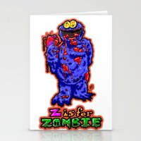 sesame street Stationery Cards featuring Z IS FOR ZOMBIE!  Everyone's favorite Muppet from Sesame Street:  Cookie Monster...  THE ZOMBIE! by beetoons