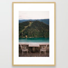 Sunset for two at Lake Bled Framed Art Print