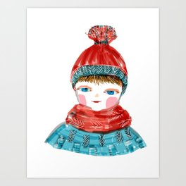 Winter and red hat Art Print