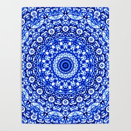 Blue Mandala Mehndi Style G403 Poster