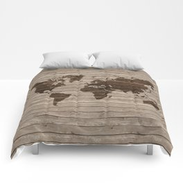 Rustic world map Comforters