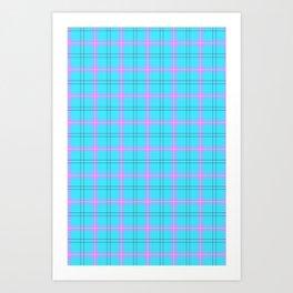 bright blue and pink plaid Art Print